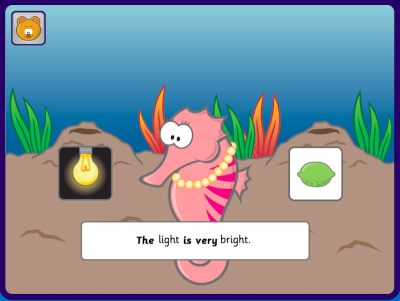 Phonics Hero game example targeting the /igh/ sound and highlighting the tricky words