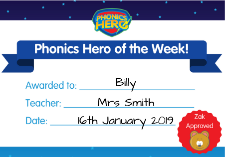 hero of the week certificate