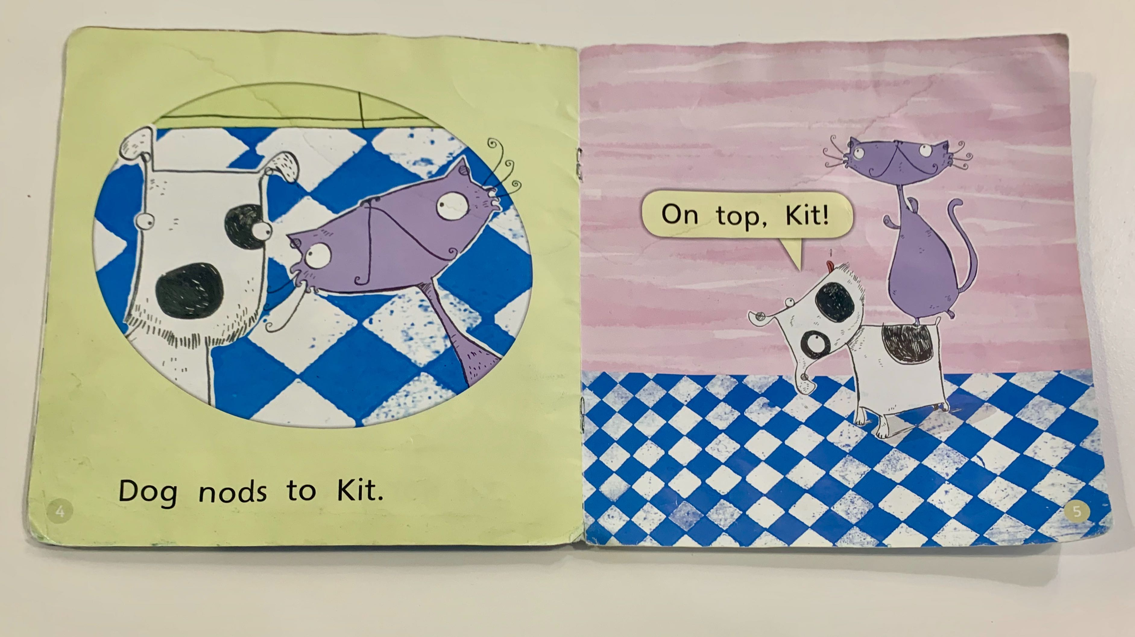 """two pages of a decodable home reader """"Kit and Dog"""""""