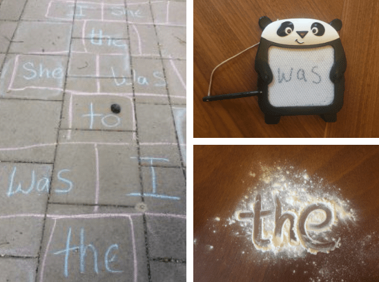 Write words in flour or foam, play Hopscotch or magnetic writing.